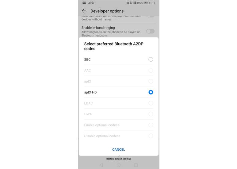 Huawei Mate 20 Pro Bluetooth Codec Option